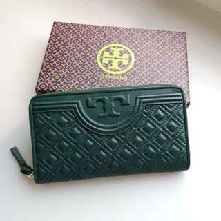 Tory Burch Fleming Long Wallet - dark green