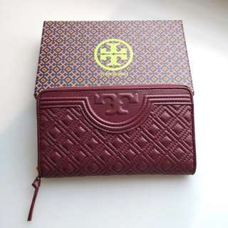Tory Burch Fleming Long Wallet - maroon