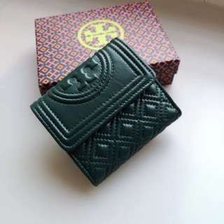 Tory Burch Fleming Short Wallet - dark green