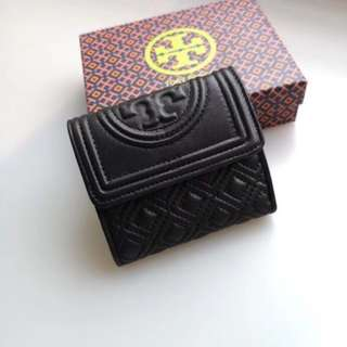 Tory Burch Fleming Short Wallet - black
