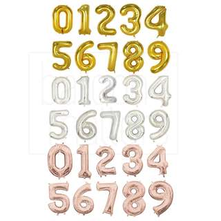 🚚 16 Inch Number Foil Balloons  (Rose Gold/Silver/Gold)
