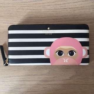 Preloved #katespade (AUTHENTIC) - Pink Monkey Long Zipper Wallet