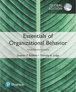 MNO1706 Organisational Behaviour Textbook (global fourteenth edition) by Stephen P. Robbins and Timothy A. Judge