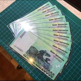 🚚 🇮🇩RARE 20,000 Rupiah 🇮🇩Consecutive 10 running numbers condition: UNC