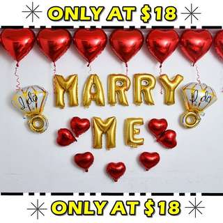 Marry Me Wedding Proposal Foil Balloons Bedroom Decor