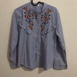 Embroidery stripe shirt