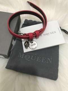 MCQ pink double skull wraps bracelet