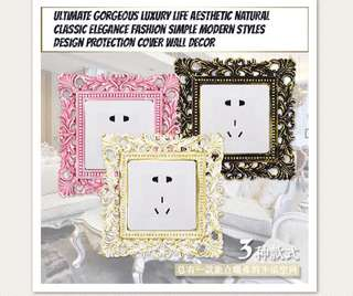 Premium Quality European retro resin switch socket elegant wall stickers protective cover panel wall sets creative pastoral