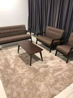 3+2+1 seater wooden sofa & cofee table