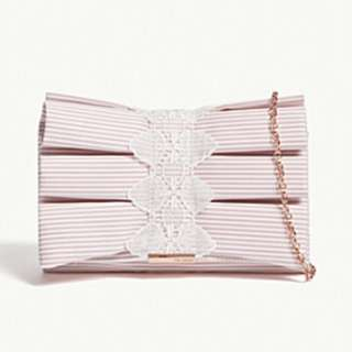 TED BAKER Box pleat striped clutch bag