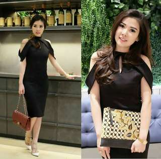 Dress Black Fashion bahan twiscone