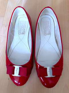 Salvatore Ferragamo Varina Patent Leather Ballet Flats, RED, EU36