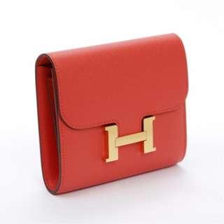 Hermes Contsance錢包 Epsom皮革 玫瑰红 金扣