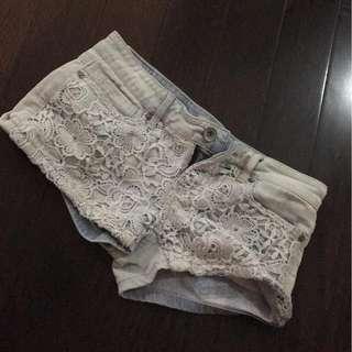 Aeropostale lace denim bleached shorts