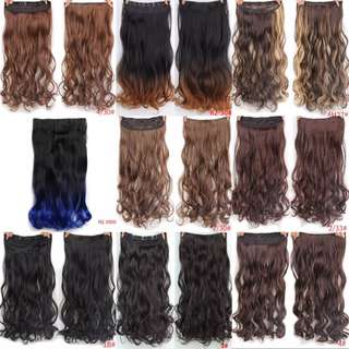 17 Colors Long Wavy High Temperature Fiber Synthetic Clip in Hair