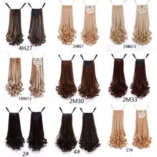 Long Curly Synthetic Ponytail Light Brown Drawstring Clip