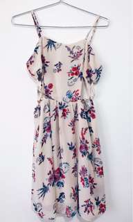Silky Floral Dress with Cutouts