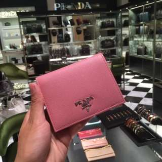 Prada mini wallet 銀包 粉紅色
