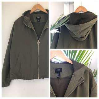 Forever 21 Olive Green Nylon Jacket w Hood