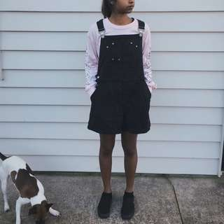 Vintage Faded Black Dungaree Shorts