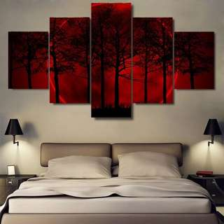 Red Moon And Dusk Forest Canvas Print