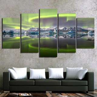 Psychedelic Aurora Lake Ice Canvas Print