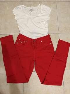 High-waist red pants (stretch)