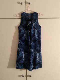 Marc Jacobs blue floral sleeveless lace up summer mini dress