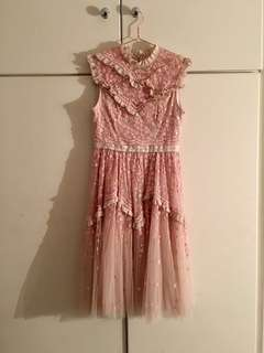 Needle & Thread pink sequins embellished flower embroidered ruffles tulle dress