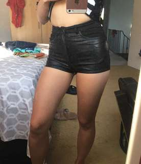 H&M Faux Leather Jean Shorts