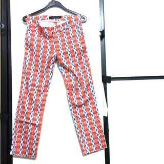 Zara orange blue white floral print trousers pants