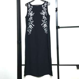 Per una Black white floral embroidery midi dress side slit sleeveless long embroidered Marks & Spencer m&s
