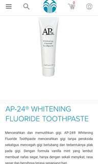 Langsung kirim Pasta Gigi AP24 Nu Skin. Bisa menghilangkan karang gigi, mengembalikan warna asli gigi, menghilangkan bau mulut.