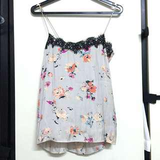 Zara floral camisole top lace grey cami spag blouse