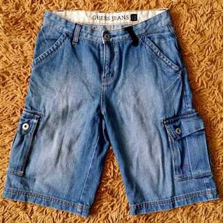 Auth Guess Boys Kids Denim Cargo Shorts 12T EUC