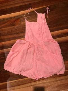 Free People Coral Linen Overalls