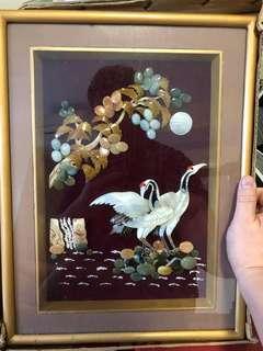 Vintage burnese semi precious gems artwork