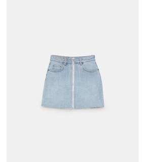 🚚 [正品]Zara拉鍊淺藍丹寧牛仔短裙