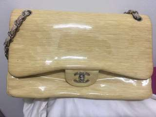 AUTHENTIC CHANEL BAG STRIPED PATENT CHANEL DOUBLE FLAP BEG BRANDED BRANDED BAG LUXURY HANDBAG LIMITED EDITION VERIFIED