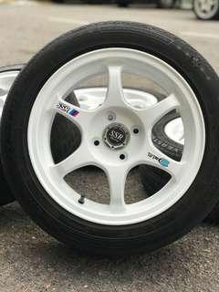 Ssr type c 15 inch sports rim alza tyre 70% *morah morah kasi*