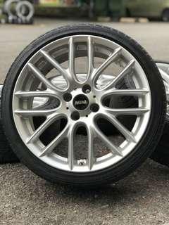 Mini cooper 17 inch sports rim alza myvi tyre 70%. *mora mora bagi you*