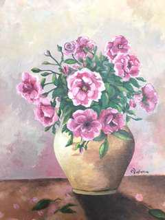 Original Painting by Victoria: Pink Roses in a Yellow Jar