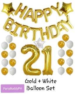 Gold + White Happy Birthday Balloon Set