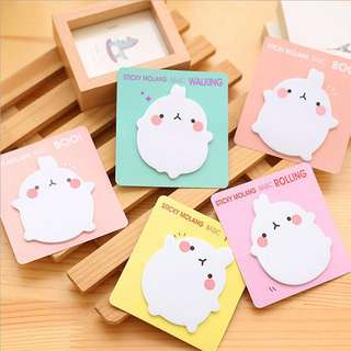 🌟BN INSTOCKS Adorable Molang Assorted Post-Its Sticky Memo Pad