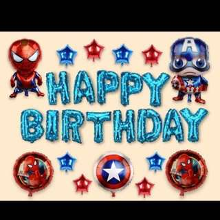 <In-stock>Happy Birthday party decoration set - Spiderman and Captain American
