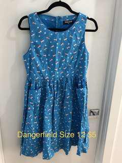 Dangerfield Dress Blue Boats Size 12 Never Worn