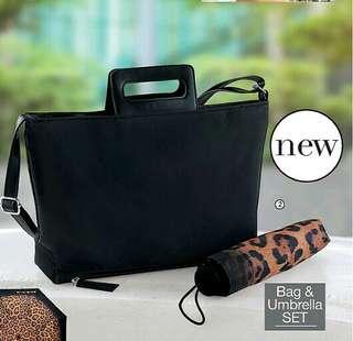 [SET]Nanette Nylon Bag & Umbrella Set