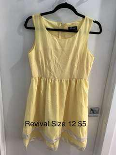 Revival Yellow Dress Size 12 Never Worn