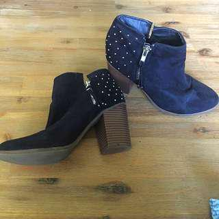 Black Studded Boots Size 7 Now