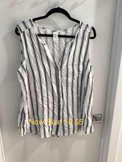 Now Sleeveless Stripe Blouse Button Up Size 18 Never Worn